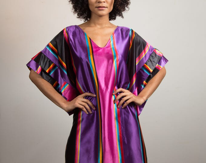 Vintage Satin Dress - Silky Striped Pink and Purple Loungeware Robe with Oversized Arms and V-neck