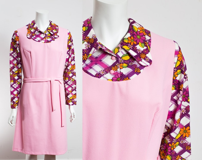 Vintage Hippie Dress / 60's Style Pink Long Sleeve Floral Purple Dress with Original Belt / Colour Blocked Dress with Collar /Made in Canada
