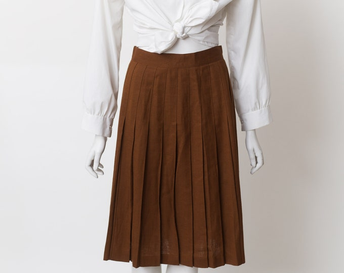 Vintage Brown Skirt - Small Size Linen  Skirt - Earth tone Pleated Broomstick Spring or Summer Hippie Office Casual Skirt