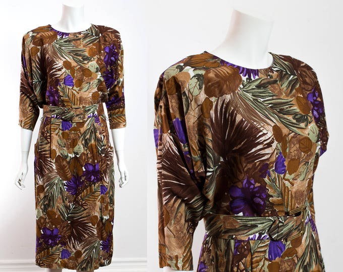 Vintage 80's Ornate Jungle Dress / Size 8 Lightweight Earthtone Floral Leafy Dress with Belt and Side Pockets and Purple Tones