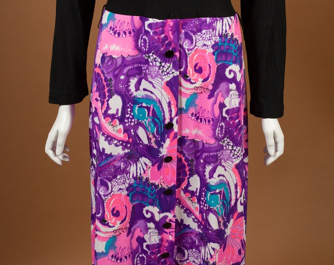 Vintage Sweater Dress - Purple and Pink Paisley Sheath Dress with Long Sleeves and Black Turtleneck