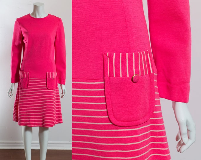 Vintage Hot Pink Knit Dress / Florescent Pink Wool Sweater Skirt Dress with Front Pockets and Striped Skirt / Long  Sleeve Warm Sweater