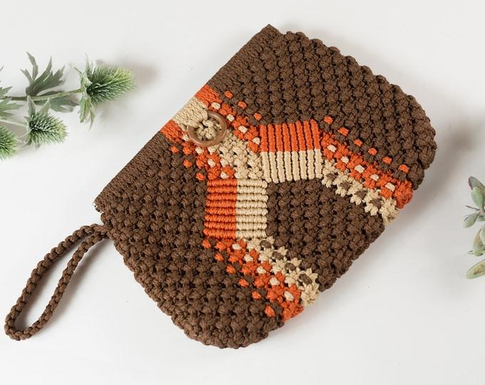 Vintage Macrame Clutch -70's Fabric Purse - Mid Century Boho Modern Bag - Prom Purse -Mother's Day Gift - Southwest Desert Purse