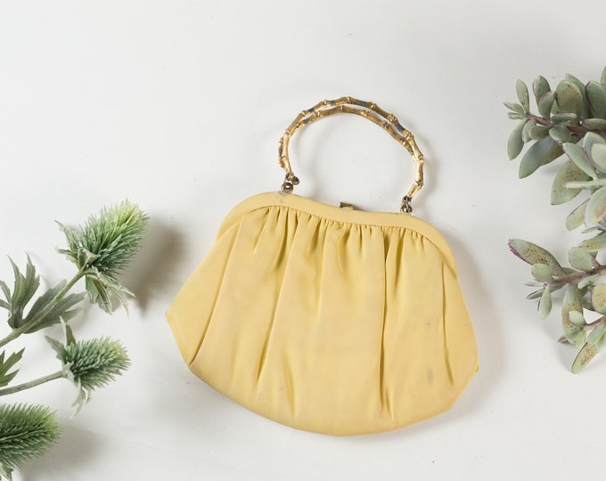 Vintage Yellow Purse - Fabric Clutch -Soft Pale yellow Fabric Bag- Prom Purse -Mother's Day Gift