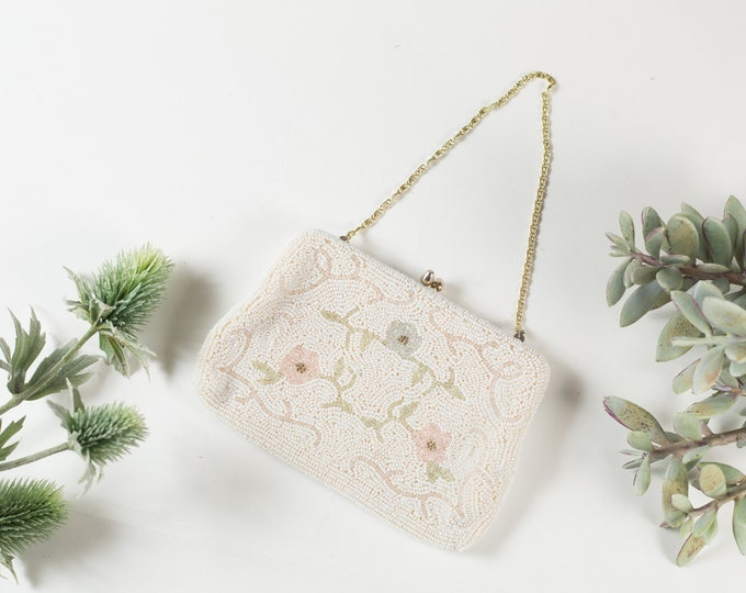 Vintage Allover White Beaded Flower Hand Purse - Floral Style Cream Colored Purse or Carrying Bag with Clasp -Mother's Day