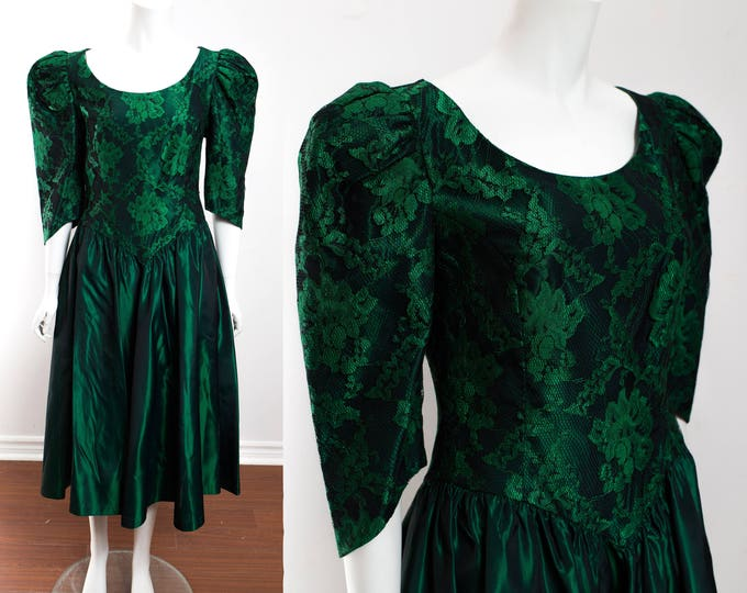 Vintage Green Ball Gown / Lace Dress for Fairytale Princess Costume / Emerald Bridesmaid Dress / Floral Ornate Lace Puff Shoulders
