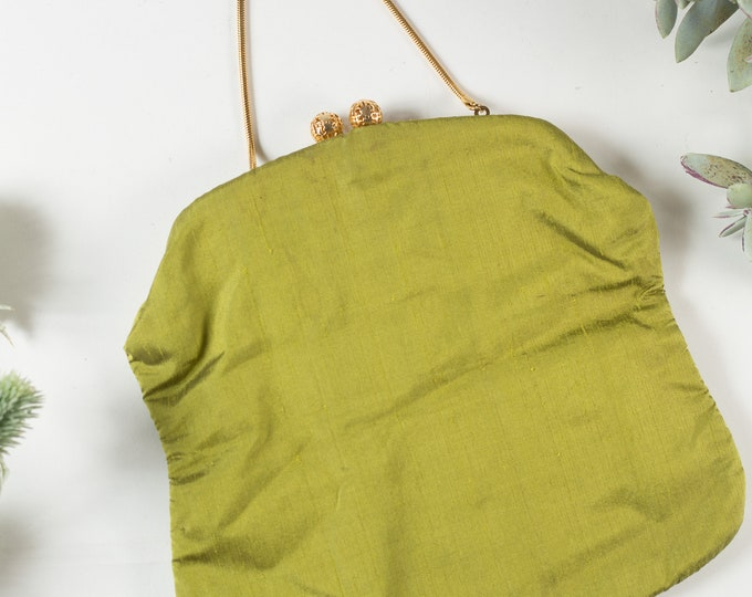 Vintage Green Purse - Fabric Clutch -Avacado Green fabric Purse - Prom Purse -Mother's Day Gift