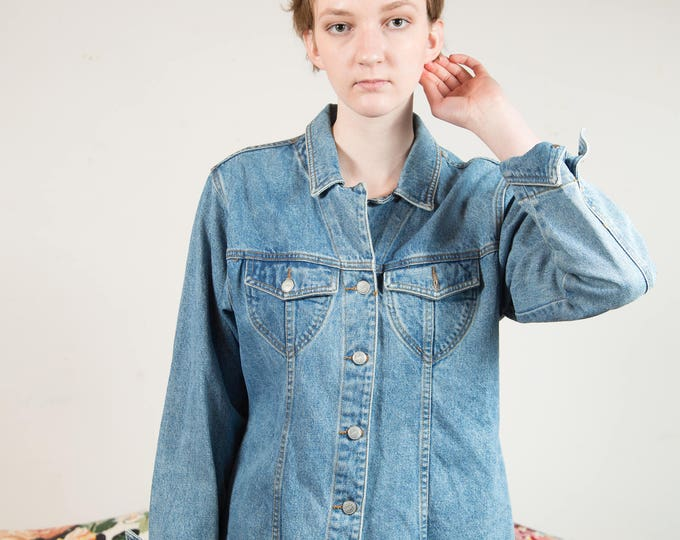 Vintage Blue Denim Jacket - Medium Women's or Ladies Button Up Coat - Made in USA by Moda International