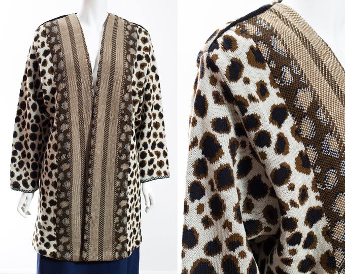 Cheetah Sweater Robe  / Vintage Zozo Long Polyester Cardigan with Stripes / Made in Canada