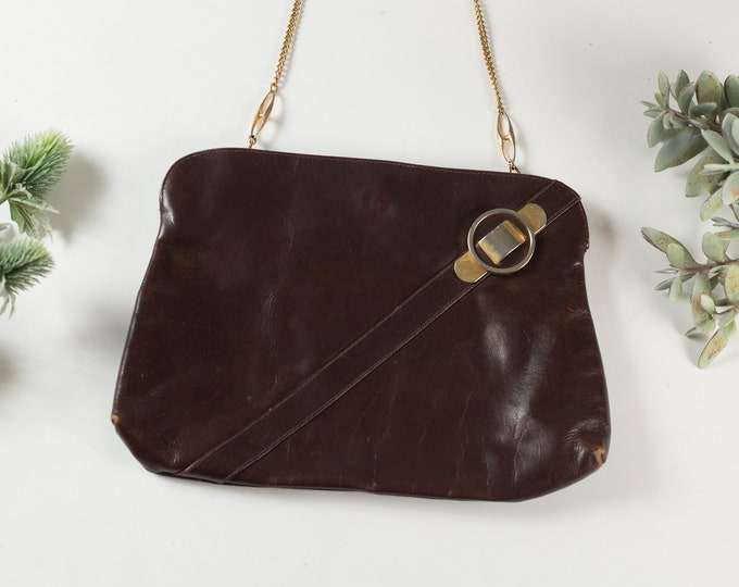 Vintage Brown Leather Purse - Made in Italy - Glamour Evening Purse - Brass Gold Hardware Handbag - Prom Purse -Mother's Day