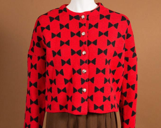 Red Bowtie Knit Sweater - Medium Knit Button up Pullover - Cute Geometric Warm Winter Ladies Women's Sweater