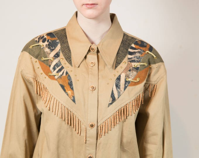 Vintage Ranch Shirt - Large Women's or Ladies Vintage Tan Button up Western Cowgirl Shirt with Tassels - Dolly Parton Shirt