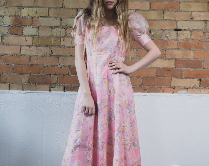 Vintage Pink Floral Dress - Soft Pastel Pink Small Slim Maxi Prom Party Dress with Flared Sheer Ruffled Shoulders