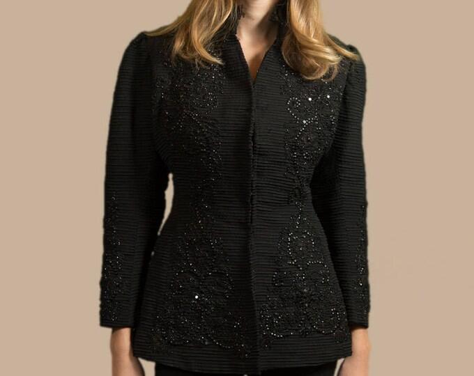 Antique Black Beaded Peplum Jacket - Modern Victorian Penny Dreadful Edwardian Corset Bodice Coat With Black Lace Collar Trim