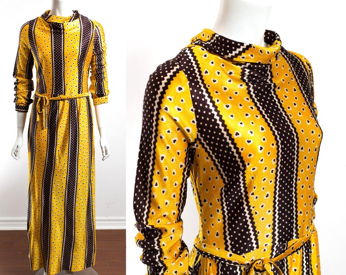 Vintage 60's Scarecrow Dress / Yellow and Brown Stripe Dress with Brown Heart Pattern / Autumn Fall Thanksgiving Dress