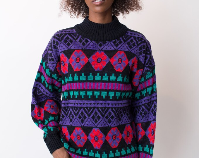 Vintage Geometric Sweater - Gad-Abouts Polyester Pullover with Colorful Pattern - Warm Winter Ladies Women's Sweater