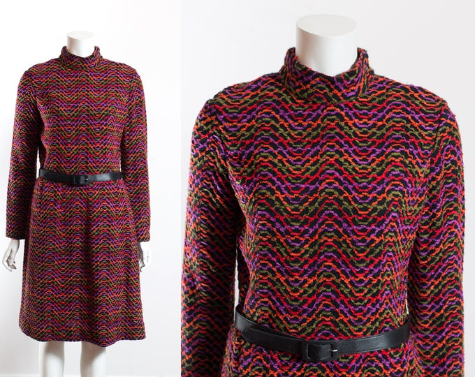 Vintage 70's Mod Dress /Colorful Squiggly Pattern Dress with Short Skirt and Belt / Ruth Norman for Gay Gibson