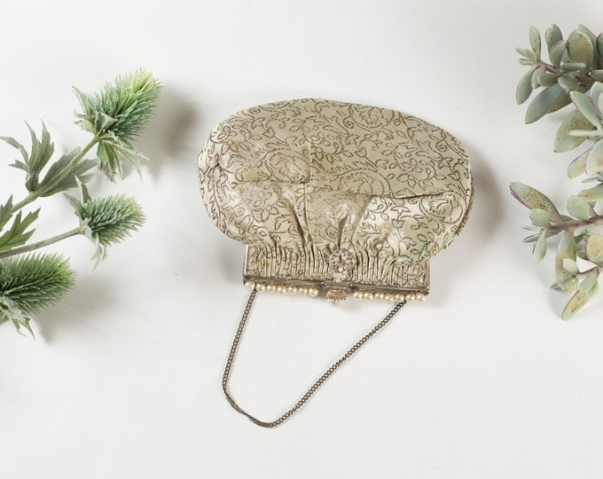 Vintage Floral Purse - Women's Flower Silver Brocade Fabric Purse with Pearls - Ornate French 50's Style Bag - Prom Purse -Mother's Day Gift