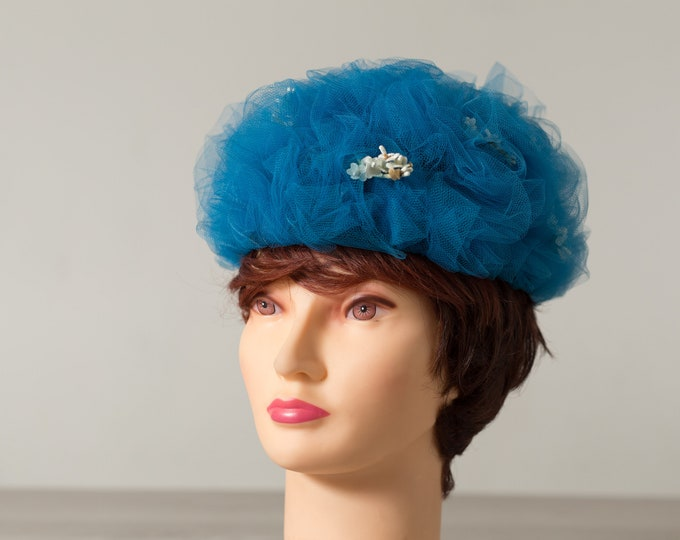 Vintage Blue Hat - Blue Sheer Lace Style Hat with Flowers - Church Lady Hat with Sparkly Gem