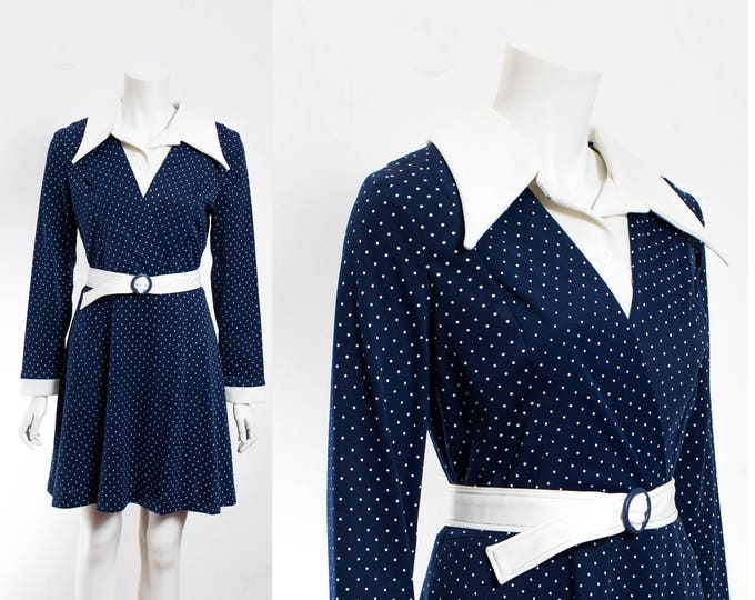 Vintage 70's Polka Dot Dress / Starry Night Navy Blue and White Polka Nautical Sailing Dress with Belt V-shape Neck and Pointed Collars