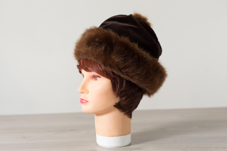 d88ae8aa6 Vintage Ladies Faux Fur Hat - 1950's Canadian Small Fur Women's Hat ...