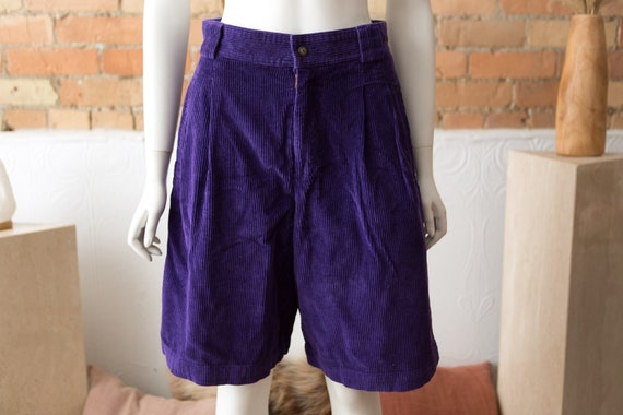 "Vintage Purple Corduroy Shorts - Women's 28"" Waist"