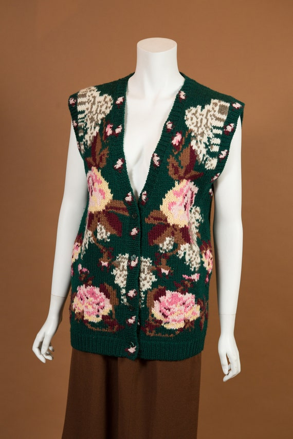 Vintage Knit Vest - Green Hand-knit Long Vest with