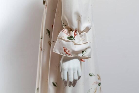Vintage 60's Autumn Dress / White Polyester Fall … - image 6