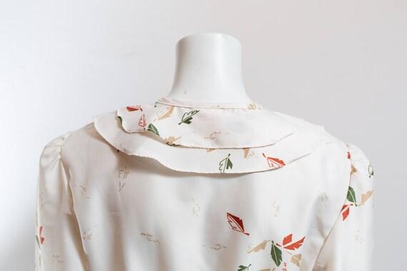 Vintage 60's Autumn Dress / White Polyester Fall … - image 8