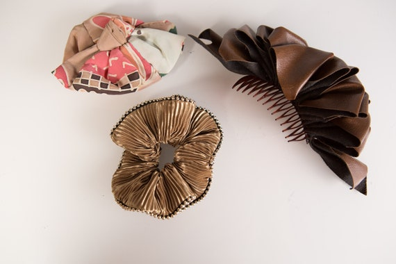 3 Vintage Hair Clips and Scrunchie- 80's and 90's