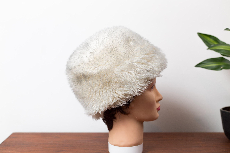 4c66f8f1539bb9 Vintage Ladies Faux White Fur Hat - Canadian Faux Polar Bear Women's Hat -  Winter Party Hat