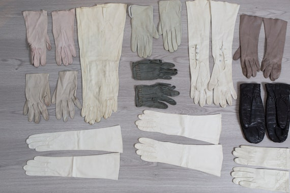 Vintage Leather Long Gloves - 11 Pairs of Evening