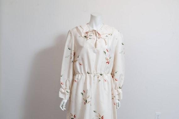 Vintage 60's Autumn Dress / White Polyester Fall … - image 9