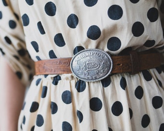 Vintage Leather Belt with Buckle Name 'Justin' - Western Country Music Festival Belt - Men's or Women's Belt with Oval Metal Buckle