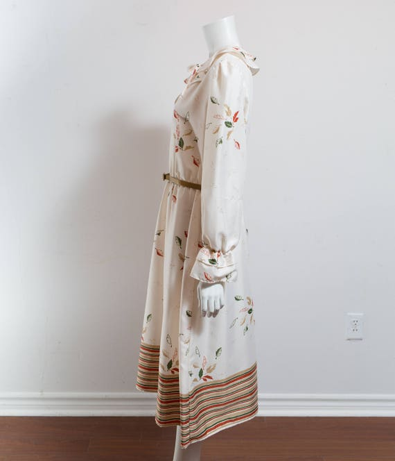 Vintage 60's Autumn Dress / White Polyester Fall … - image 5
