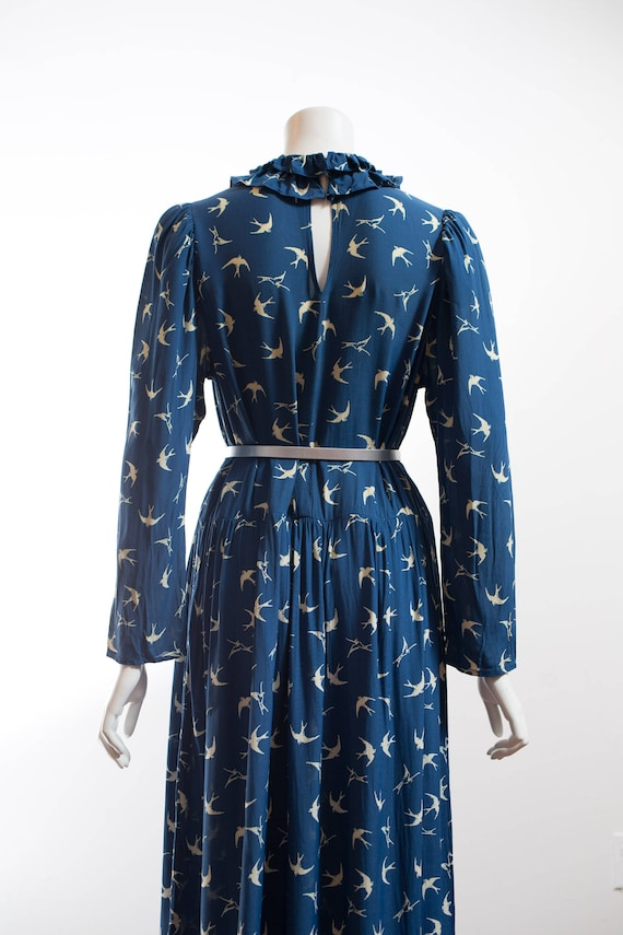 Ruffled Collar Blue with for Easie 50's Canada Eliza Dress Bird Sim Adorable Mid Print Dress Century Originals zUvxqgwC