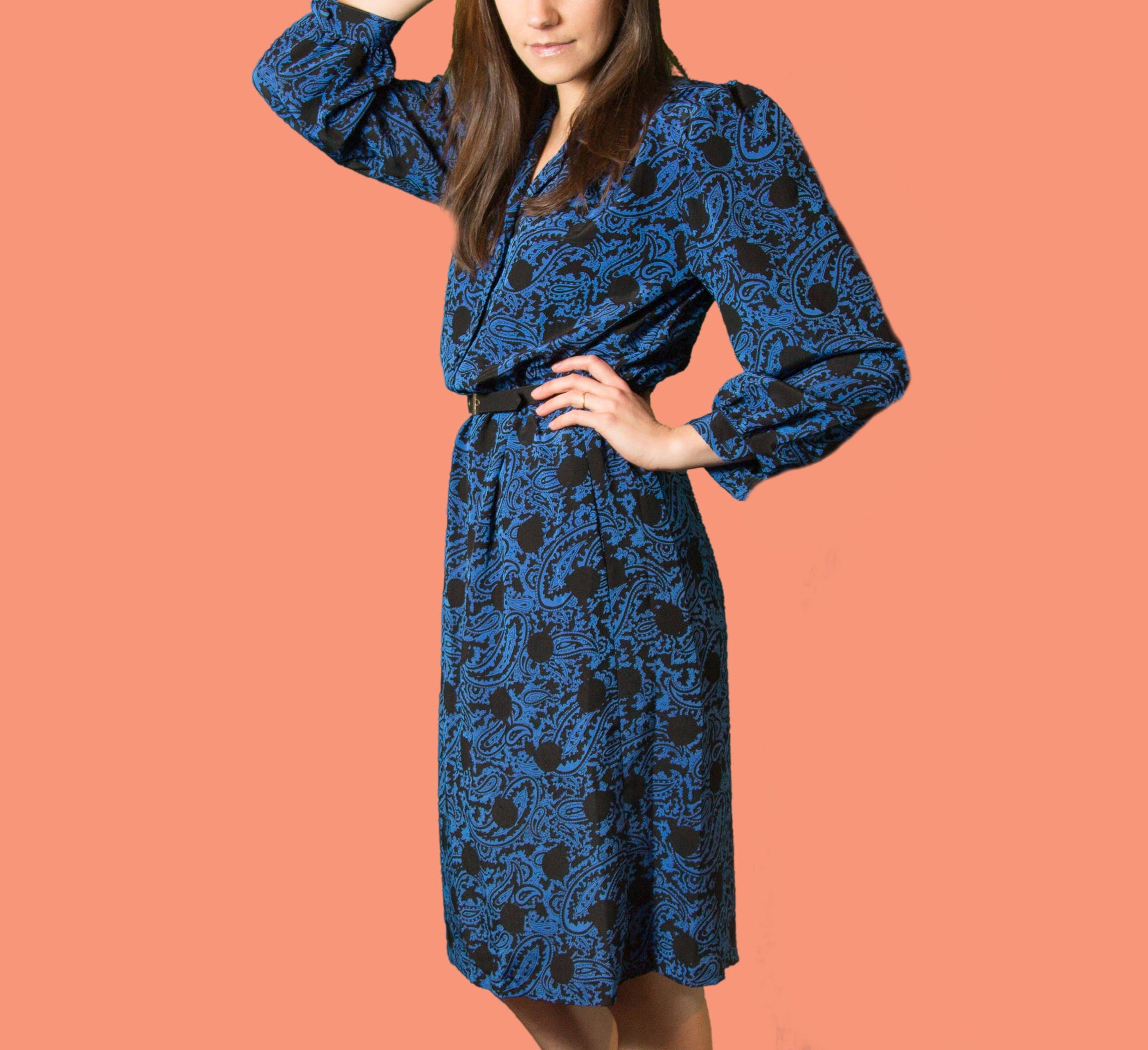 09c77b6c9c Vintage Blue Paisley Dress - Thin Flowy Summer Long Oversized Sleeve Dress  by Suli Petites. gallery photo gallery photo gallery photo gallery photo  gallery ...