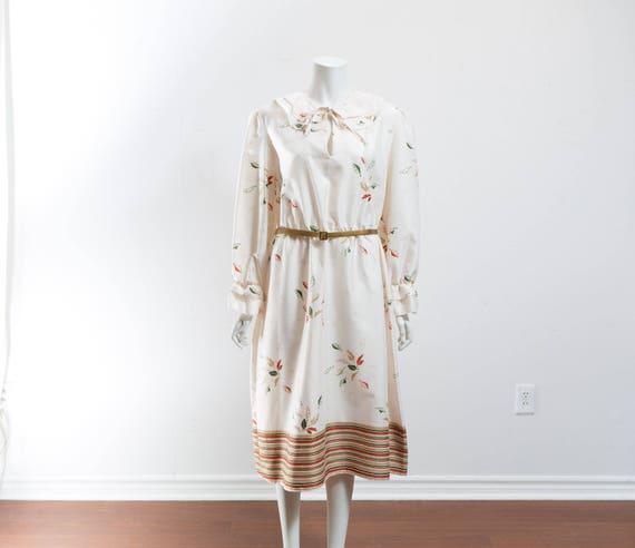 Vintage 60's Autumn Dress / White Polyester Fall … - image 2