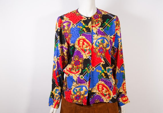 Vintage 80s Womens Colorful Abstract Baroque Pattern Long Sleeve Blouse Shirt Top size L