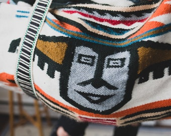 Aztec Duffle Bag - Knitted Wool Blend Fabric Shoulder Bag with Indigenous Aboriginal Southwestern Design - Boho Duffle Bag