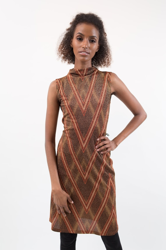 Vintage Metallic Dress - Shimmering Copper Evening