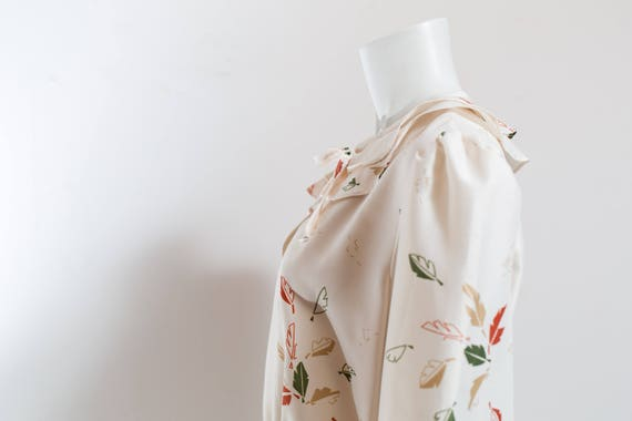 Vintage 60's Autumn Dress / White Polyester Fall … - image 7