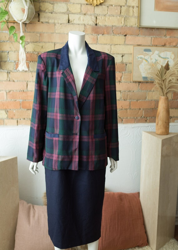 Vintage Plaid Blazer - Large Oversized Tartan Patt