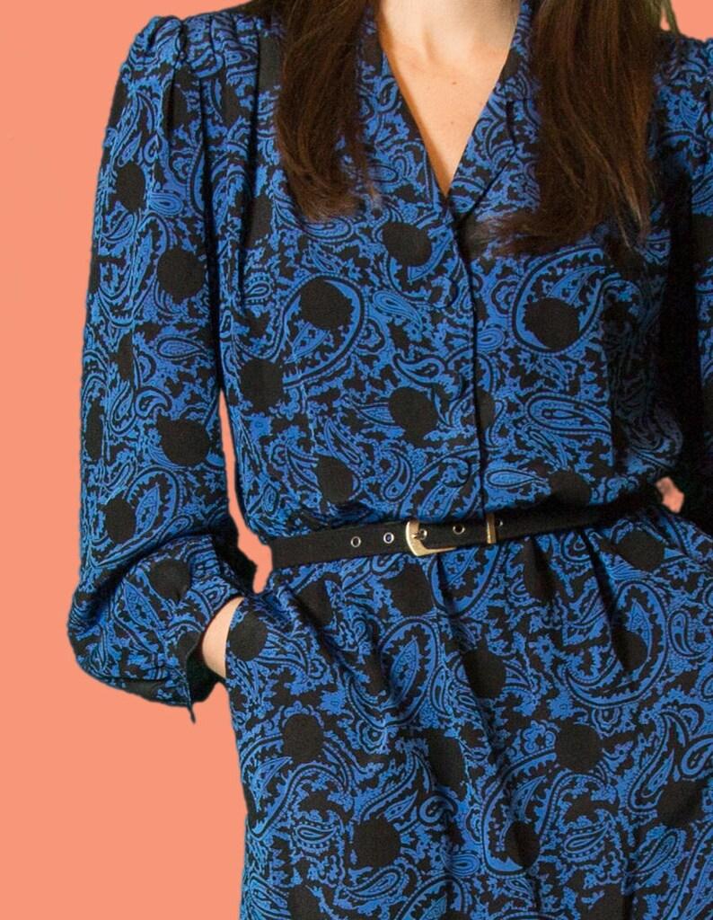 0fbc7963b4 Vintage Blue Paisley Dress Thin Flowy Summer Long Oversized