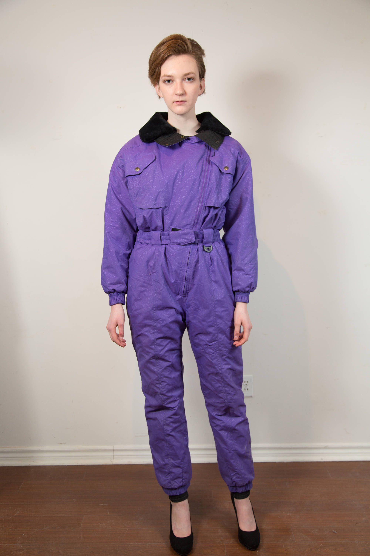 Vintage Ski Suit - Medium Women s or Ladies Purple and Black Snow Suit -  Gelande MicroLite eeec009940