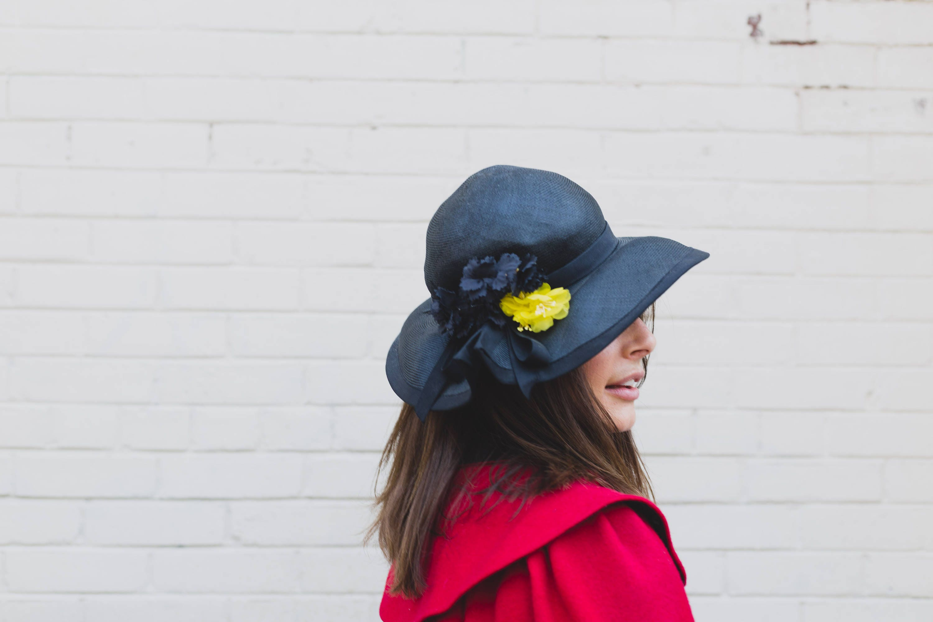 Vintage Black Hat with Yellow Flower / Ladies Small Mesh Hat