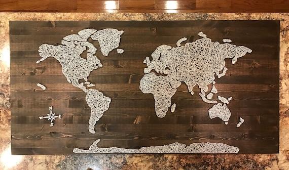 Huge World Map String Art | Etsy