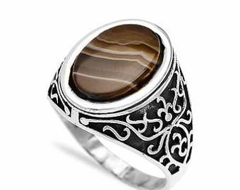 Sterling Silver Tiger Eye Mens Ring