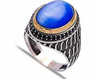 Sterling Siver Blue Tiger Eye Mens Ring
