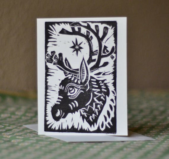 Reindeer Christmas Cards Hand Prints.Block Print Reindeer And Cardinal Christmas Card Hand Printed With Black Or Red Ink